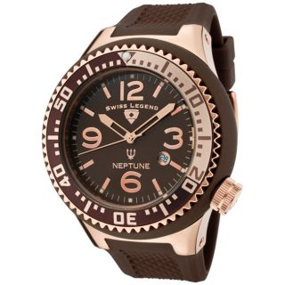 Swiss Legend Mens Neptune Brown Silicone Watch
