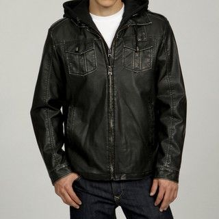Izod Mens Faux Leather with Fleece Zip out Jacket