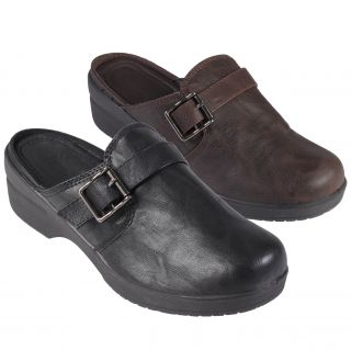 Journee Collection Womens Faux Leather Buckle Detail Clog