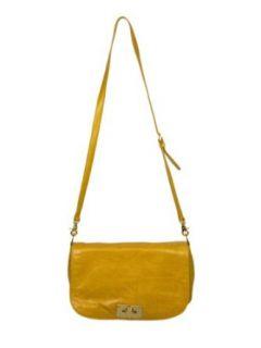 Tory Burch Yellow Brady Leather Messenger Handbag