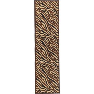 Non Skid Ottohome Brown Animal Print Zebra Runner Rug (18 x 411