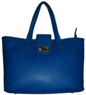 Womens Valentina Large Genuine Leather Tote Handbag (Blue