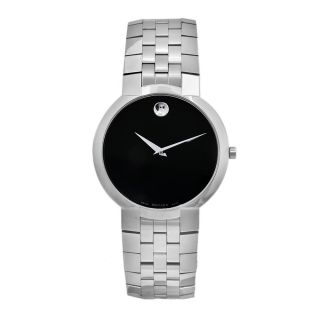 Movado Mens Faceto Stainless Steel Black Dial Watch