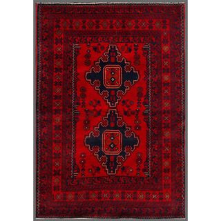 Afghan Hand knotted Khal Mohammadi Red/ Navy Wool Rug (33 x 410