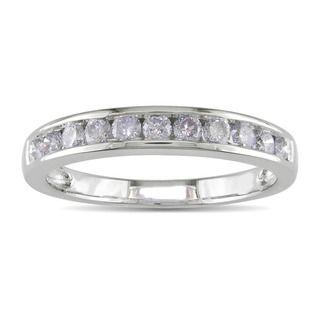 Miadora 14k White Gold 1/2ct TDW Diamond Semi eternity Ring (H I, I2