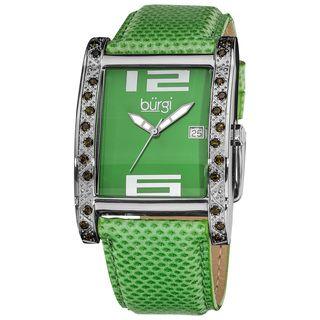 Burgi Womens Green Rectangle Face Swiss Quartz Leather Strap Watch