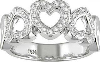 14k White Gold 1/3ct TDW Diamond Heart Ring