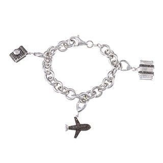 Sterling Silver 1/5ct TDW Black and White Diamond Charm Bracelet