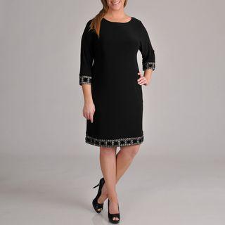 Tiana B Womens Plus Size Beaded Trim Dress