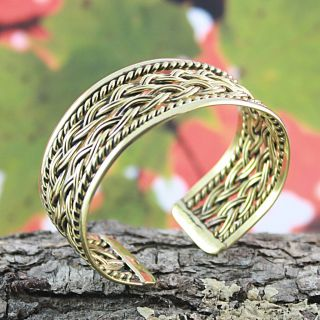 Handcrafted Tumbaga Braided Rope Edged Cuff Bracelet (Mexico