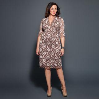 Kiyonna Womens Plus Size 3/4 sleeve Scalloped Boudoir Lace Dress