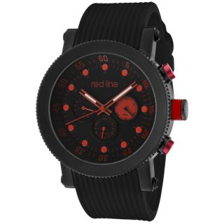 Red Line Mens Compressor Black Textured Silicone Watch
