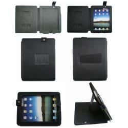 Deluxe Apple iPad Black Leather Folio/ Screen Protector/ Stylus Pen