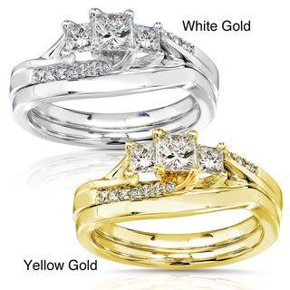 14k Gold 1/2ct TDW Diamond Princess Cut Bridal Ring Set