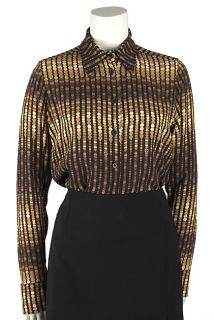 Gucci Gold Silk Printed Blouse