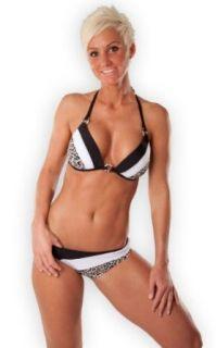 Heißer Push Up Triangel   Bikini in schwarz   weiss   leo (696   1018