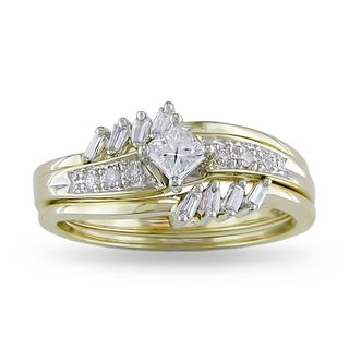 Miadora 14k Yellow Gold 3/8ct TDW Diamond Bridal Ring Set (G H, I1