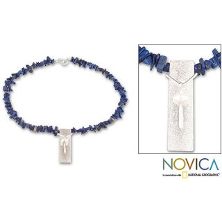 Sterling Silver Spirit Pearl and Lapis Lazuli Necklace (Brazil