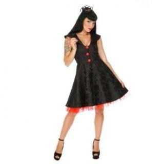 Voodoo Vixen Kleid ROSES DRA2127 black red Bekleidung