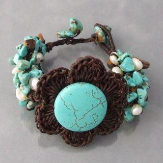 Crochet Flower Turquoise/ Tigers Eye/ Pearl Bracelet (Thailand
