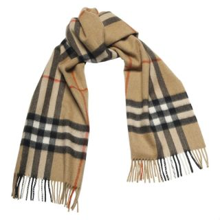 Burberry Beige Plaid Cashmere Scarf