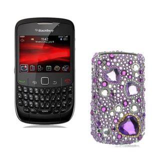 Premium BlackBerry Curve Purple Heart Rhinestone Case