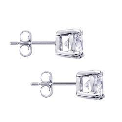 Platinum 2ct TDW Heart and Arrow Diamond Stud Earrings (H I, SI1 SI2
