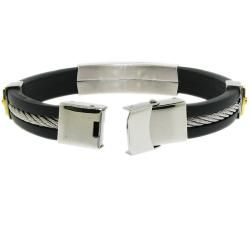 Stainless Steel and Black Rubber Mens ID Bracelet