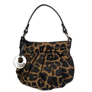 Fendi Jaguar Print Mini Canvas Hobo Bag