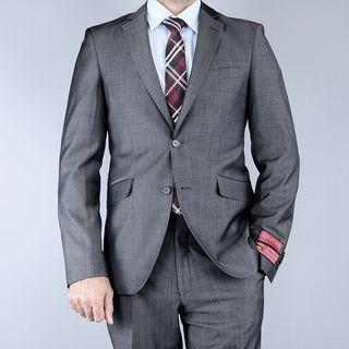 Mantoni Mens Classic Fit Sharkskin Grey Black 2 button Wool Suit