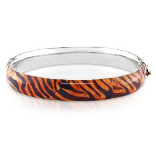 Sterling Silver Tiger Stripe Animal Bangle Bracelet