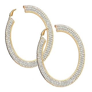 14k Gold Overlay Clear Crystal Hoop Earrings