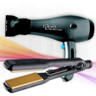 H2pro 405YFI Flat Iron and Black 2000 Hair Dryer