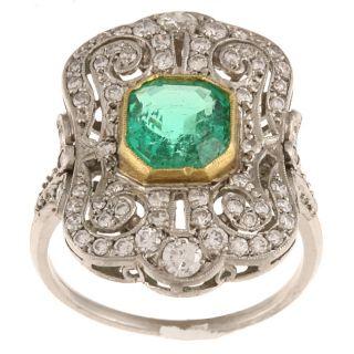 Platinum Emerald and 4/5ct TDW Diamond Cocktail Estate Ring (I J, SI2