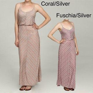 Mitred Stripe Maxi Dress