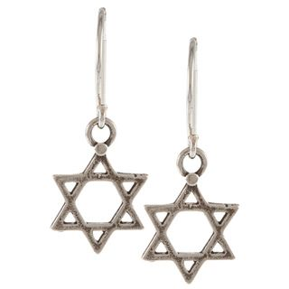 Silver plated Star of David Hook Earrings (Israel)