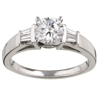 14k Gold CZ and 1/6ct TDW Diamond Engagement Ring