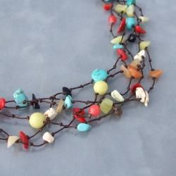 Handmade Multi gemstone Layers Necklace (Thailand)