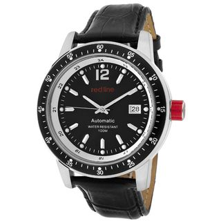 Red Line Mens Meter Black Genuine Leather Watch