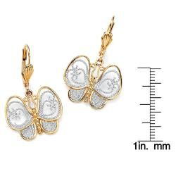 Toscana Collection 18k Two tone Goldplated Filigree Butterfly Drop
