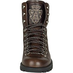 Gucci Mens Brown Leather Lace up Ankle Boots