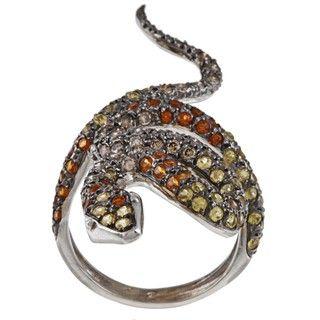 18k White Gold 7/8ct TDW Diamond and Sapphire Estate Snake Ring (I1 I2