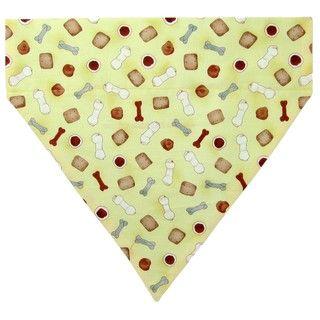 Ruff Stuff USA Yellow with Bones and Biscuits Dog Collar Bandana