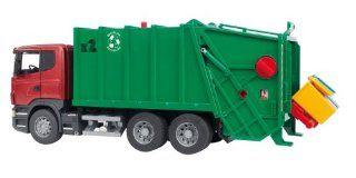 Bruder Spielwaren 03561   Scania R Serie Müll LKW, rot/grün