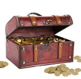 Pirate Treasure Chest with 144 Coins: Toys & Games