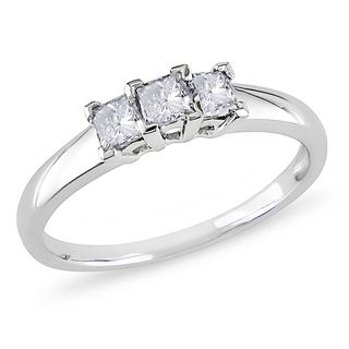Miadora 14k White Gold 1/2ct TDW Diamond 3 stone Ring (H I, I2 I3