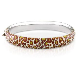 Sterling Silver Leopard Animal Print Bangle Bracelet