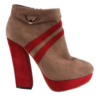 Machi by Beston Womens Becky 3 Platform Ankle Booties