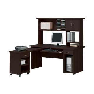 Linda Espresso Computer Hutch Desk Set