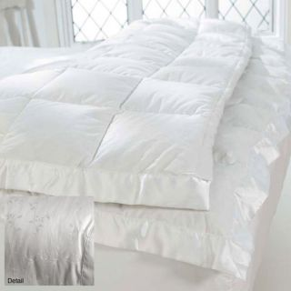 Goose Down 440 Thread Count Silk/Cotton Blend Blanket (White
